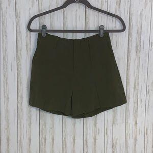Size XS Zara Basic Olive Green Linen Blend Shorts